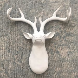 White deer head wall decor
